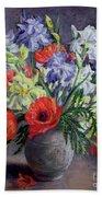 Poppies And Irises Beach Towel