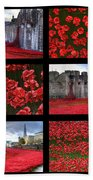 Poppies At The Tower Collage Beach Towel