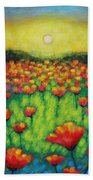 Poppies At Twilight Beach Towel