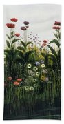 Poppies, Daisies And Thistles Beach Towel
