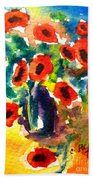 Poppies In A Vase Beach Towel