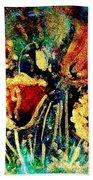 Poppies In Gold Beach Towel by Zaira Dzhaubaeva