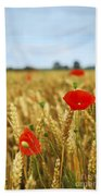 Poppies In Grain Field Beach Towel by Elena Elisseeva