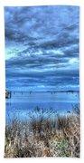 Poquoson Yacht On Stormy Morning Beach Towel