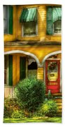 Porch - Cranford Nj - A Yellow Classic  Beach Towel