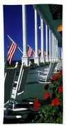 Porch Of The Grand Hotel, Mackinac Beach Towel