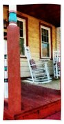 Porch With Red White And Blue Railing Beach Towel