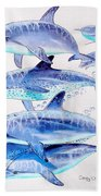 Porpoise Play Beach Towel by Carey Chen
