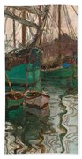 Port Of Trieste Beach Towel by Egon Schiele
