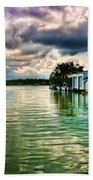 Storm Clouds Over  Port Royal Boathouses In Naples Beach Towel