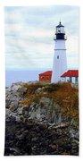 Portland Head Light House In Maine Beach Towel
