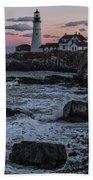 Portland Head Lighthouse Sunset Beach Towel