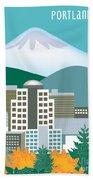 Portland Oregon Vertical Skyline Beach Towel