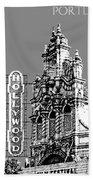 Portland Skyline Hollywood Theater - Pewter Beach Towel