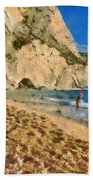 Porto Katsiki Beach In Lefkada Island Beach Towel