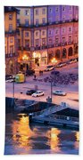 Porto Old Town In Portugal At Dusk Beach Towel