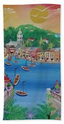 Portofino, Italy, 2012 Acrylic On Canvas Beach Towel