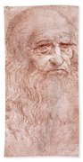 Portrait Of A Bearded Man Beach Towel by Leonardo da Vinci