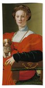 Portrait Of A Lady With A Lapdog Beach Towel