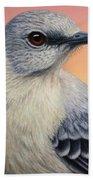 Portrait Of A Mockingbird Beach Towel