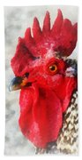 Portrait Of A Rooster Beach Towel