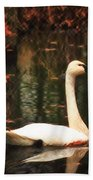Portrait Of A Swan Beach Towel