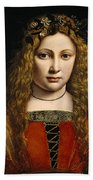 Portrait Of A Youth Crowned With Flowers Beach Towel by Giovanni Antonio Boltraffio