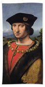 Portrait Of Charles Damboise 1471-1511 Marshal Of France Oil On Panel Beach Towel