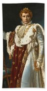 Portrait Of Napoleon In Coronation Robes Beach Towel