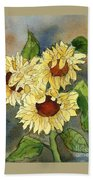 Portrait Of Sunflowers Beach Towel