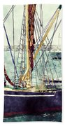 Portsmouth Harbour Boats Beach Towel