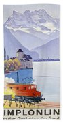 Poster Advertising Rail Travel Around Lake Geneva Beach Towel
