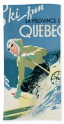 Poster Advertising Skiing Holidays In The Province Of Quebec Beach Towel by Canadian School