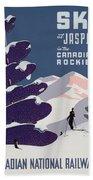 Poster Advertising The Canadian Ski Resort Jasper Beach Towel