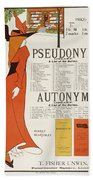 Poster For 'the Pseudonym And Autonym Libraries' Beach Towel