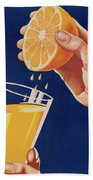 Poster With A Glass Of Orange Juice Beach Towel