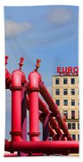 Potsdamer Platz Pink Pipes In Berlin Beach Towel