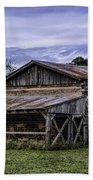 Pottsville Arkansas Historic Log Barn Beach Towel