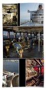 Power Collage Queen Mary Ocean Liner Long Beach Ca 01 Beach Towel