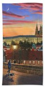 Prague At Dusk Beach Towel