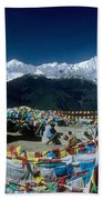 Prayer Flags In The Himalayan Mountains Beach Towel