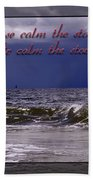 Prayer In Storm Beach Towel