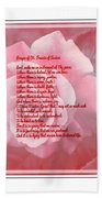 Prayer Of St. Francis And Pink Rose 2 Beach Towel