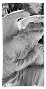 Praying Male Angel Near Infrared Black And White Beach Towel