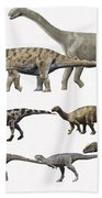 Prehistoric Era Dinosaurs Of Niger Beach Towel by Nobumichi Tamura