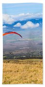 Preparing For Take Off - Paragliders Taking Off High Over Maui. Beach Towel