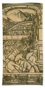 Presentation Drawing Of The Automotive Panel For The North Wall Of The Detroit Industry Mural Beach Towel by Diego Rivera