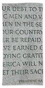 President Truman's Dedication To World War Two Vets Beach Towel