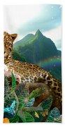 Pretty Jaguar Beach Towel by Alixandra Mullins