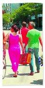 Pretty Pink Summer Dress Sunny Stroll Licari St Denis Scene Montreal Bike Racks And Flowers Cspandau Beach Towel
